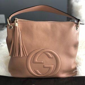 Gucci Soho Rose Beige Nude Leather Hobo Bag